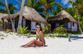 Adorable Woman At Beach During Caribbean Vacation Royalty Free Stock Photography - 41306857