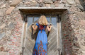 Woman With Dress At Retro Old Manor Door Entrance Royalty Free Stock Images - 41308549
