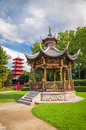 Chinese Garden House And Tower In Brussels, Belgium Royalty Free Stock Image - 41315966