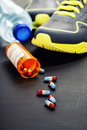 Different Tools For Sport And Pills Royalty Free Stock Photo - 41316955