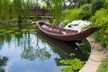 Wooden Boat In Pond Stock Photo - 41318070