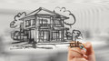 Businessman Hand Drawing House Royalty Free Stock Images - 41321799