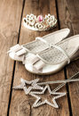 Small Girl Ball Or Party Outfit With Silver Ballet Shoes Stock Photos - 41324353