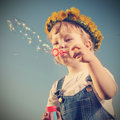 Boy Play In  Bubbles Royalty Free Stock Photos - 41325498