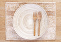 Wooden Spoon And Fork And Empty Wooden Dish Royalty Free Stock Images - 41327179