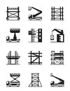 Scaffolding And Construction Cranes Icon Set Stock Photos - 41327193
