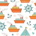 Boats And Ships Seamless Pattern Royalty Free Stock Photo - 41331345