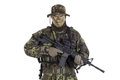 Soldier In Camouflage And Modern Weapon M4. Royalty Free Stock Image - 41340246