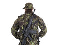 Soldier In Camouflage And Modern Weapon M4. Royalty Free Stock Photography - 41340267