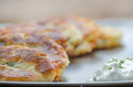 Fried Potato Pancakes With Chive Dip/souce Royalty Free Stock Photo - 41342465