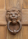 Vintage Oriental Knocker Door Of Metal Lion Royalty Free Stock Photography - 41350517