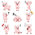 Cute Pig Cartoon Icons Royalty Free Stock Photo - 41385915