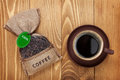 Coffee Cup And Small Bag With Beans Stock Image - 41387051