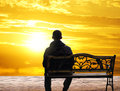 The Lonely Man Sits On A Decline Stock Photo - 41389790