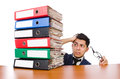 Funny Man With Lots Of Folders Royalty Free Stock Photography - 41394307