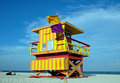 Yellow And Orange Art Deco Lifeguard Tower Royalty Free Stock Images - 4141449