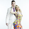 Young Man And Beautiful Lady In Flower Dress Stock Photo - 41402920