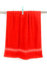 Red Towel Hang On Rack With Clip Royalty Free Stock Photo - 41414515