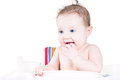 Funny Laughing Baby Waiting For Lunch Royalty Free Stock Image - 41418856