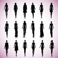 Set Of Female Fashion Silhouettes Royalty Free Stock Photography - 41423047