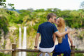 Young Couple Enjoying A View On Chamarel Falls Stock Photos - 41423533