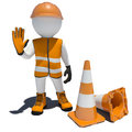 3d Worker And Traffic Cones Royalty Free Stock Images - 41427369