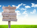 Road Sign In Green Grass Field Royalty Free Stock Image - 41428096
