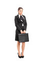 Sad Businesswoman Holding A Briefcase Royalty Free Stock Photo - 41437375