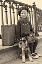 Vintage Old Photo Of A Little Girl And His Dog Royalty Free Stock Image - 41467576