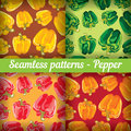 Set Of Abstract  Seamless Background Peppers. Royalty Free Stock Photos - 41490198