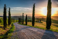 Sunset And Winding Road With Cypresses In Tuscany Royalty Free Stock Image - 41492256