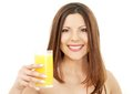 Lovely Brunette With Glass Of Juice Royalty Free Stock Photo - 41501115