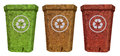 Red Yellow Green Recycle Bin From Cork Wood Royalty Free Stock Photography - 41515097