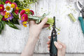Florist At Work. Woman Making Bouquet Of Wild Flowers Stock Images - 41517744