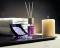 Spa Massage Border Background With Towel Stacked, Perfume Diffuser And Sea Salt Stock Photos - 41530413
