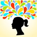 Silhouette Of The Head Of The Young Woman Thinks Bright Colorful Splashes Royalty Free Stock Photography - 41550057