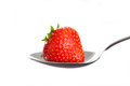 Red Strawberry On Spoon. Isolated On White. Royalty Free Stock Image - 41557326