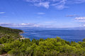 Amazing View From The Top Of A Mountain Down To The Sea In Chalkidiki, Greece Royalty Free Stock Photo - 41563565