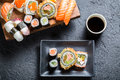 Sushi Served With Soy Sauce Stock Photography - 41569692