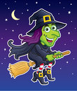 Witch Riding Her Broom In A Night Sky Royalty Free Stock Photos - 41571598