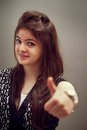 Indian Girl Showing A Thumbs Up Stock Image - 41576611