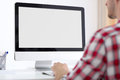 Person Front Of Computer Monitor Royalty Free Stock Photo - 41583265