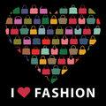 Colorful Silhouettes Women S Handbags.Composition In Form Of Hea Royalty Free Stock Photo - 41592015