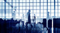 Silhouettes Of Business People Walking Inside The Office Stock Images - 41596654