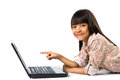 Smiling Little Asian Girl With Laptop Computer Stock Photo - 41632080