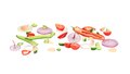 Composition Of Fresh Sliced Vegetables. Stock Photos - 41639033
