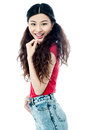 Slim Young Smiling Chinese Girl Over White Royalty Free Stock Image - 41645526