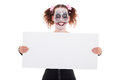 Insane Smiling Female Clown With Sign Stock Photo - 41666440