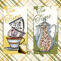 Set Of Hand Drawn Tea Time Cards Royalty Free Stock Photography - 41666447