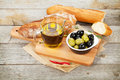 Italian Food Appetizer Of Olives, Bread And Spices Stock Photo - 41671060